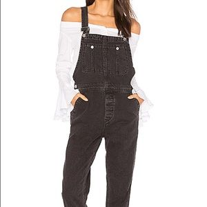 Free People The Boyfriend Overall on Soft Black